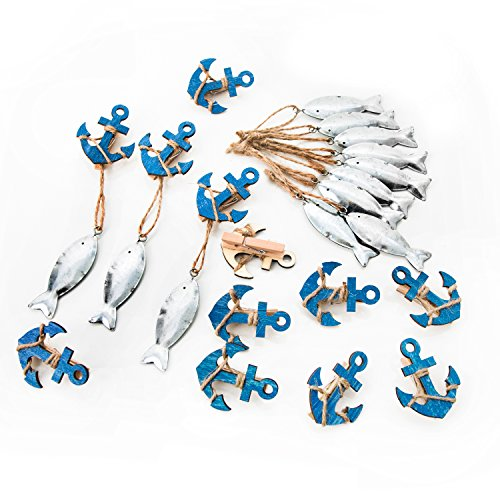 12 Teile Set maritime Deko: 6 blaue Holz Anker Dekoklammern + 6 silber farbene Blech Fisch Anhänger: Tischdeko Kommunion Hochzeit Party Geburtstag...