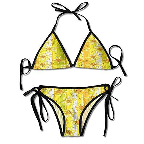 Women's Beachwear Bikini,Daffodil Jonquil Blooms Striped Sexy Bikini 2 Pieces Womens Daffodil