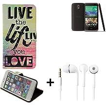 360° Funda Smartphone para HTC Desire 526G Dual SIM, 'live the life you love' + auriculares   Wallet case flip cover caja bolsa Caso Monedero BookStyle - K-S-Trade