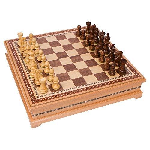 Helen Chess mit Holz, Brettspiel mit Hoher Qualität, Mit Beschwerungsband, Aus Holz, 15 Zoll