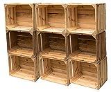 Gebrauchte Holzkisten im 9er Set: Originale Vintage Obstkisten zum Möbelbau oder als Dekoration, sehr stabile Apfelkisten, geprüft und gereinigt, auch als Aufbewahrungsbox od. Tisch 50x40x30 cm
