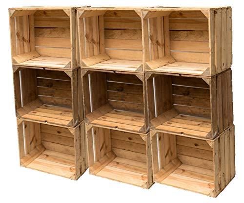 Gebrauchte Holzkisten im Set Angebot: Originale Vintage Obstkisten zum Möbelbau od. als Dekoration, sehr stabile Apfelkisten, geprüft und gereinigt 50x40x30 cm (9er Set)