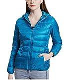 QCHENG Steppjacke Damen Leicht Daunenjacke Packbar mit Kapuze Winter Wärm Kälteschutz Daunenmantel See blau M