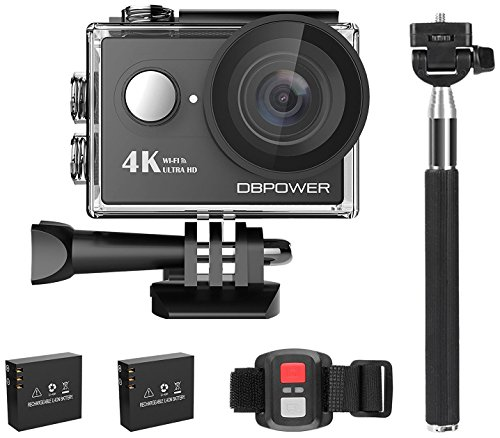 Galleria fotografica 4K Action Cam, DBPOWER Sport Action Camera Waterproof 12MP 170 ° Wide Angle 2.0 Inch LCD Screen with 2pcs Batteries and Accessories kits