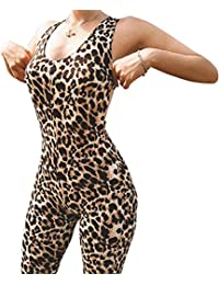 4a8c56f3a9 Women's Yoga Sleeveless Slimming Body Hollow Back Yoga Fitness Workout &  Running Leopard Print Elastic Jumpsuits