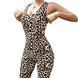 Mxssi Frauen Hohe Taille Overall Ärmellose Leoparden-Print Elastische Sporthose Sexy Strampler Hohlen Rücken Overall Leopard M