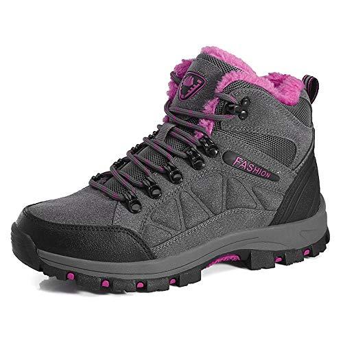 LiYa Wanderschuhe Trekking Schuhe Herren Damen Wasserdicht Winterschuhe Warm Gefüttert Winter Outdoor Boots Wander Stiefel, Grau/Pink, 36 EU
