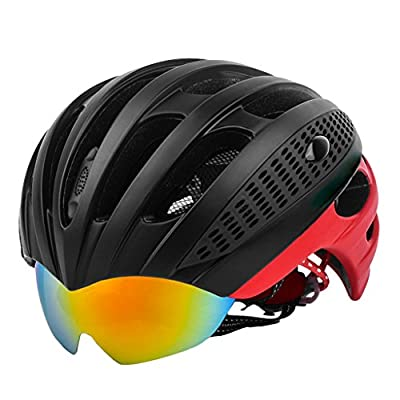 Cycle Bike Helmet with Detachable PC Goggles Visor Shield for Women Men, Cycling Mountain & Road Bicycle Helmets Adjustable Adult Safety Protection and Breathable (56-62) Neutral by SYAODU Helmets
