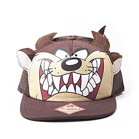LOONEY TUNES 2D Tasmanian Devil Big Face Snapback Trucker Baseball Cap (Brown)