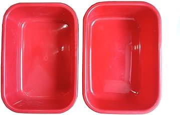 Sampada Synthetics Plastic Bucket Basin Tub (Medium Size, Red)- Pack of 2