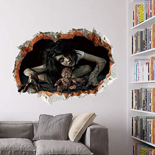 Halloween Dekoration 3d Ansicht Unheimlich Blutige Gebrochene Wand Geist Wandaufkleber Ausgangsdekor Wand Kunst 60 * 45 cm