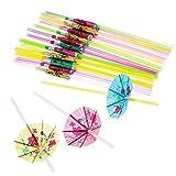 100STCK Trinkhalme Hand–handgefertigten fluoreszierend Papier Regenschirm Party Einweg Merkmal, Stroh für Motto-Party und Feier von wicemoon