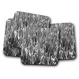Set di 4 sottobicchieri a mercurio metallico, in metallo liquido, argento Quicksilver regalo #12592