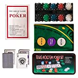 WICKED GIZMOS ® Professional Casino Style 200 Piece Texas Hold\'em Poker Game Play Set with Felt Gaming Mat, Chips, Chip Deck, Playing Cards and Tin Gift Box
