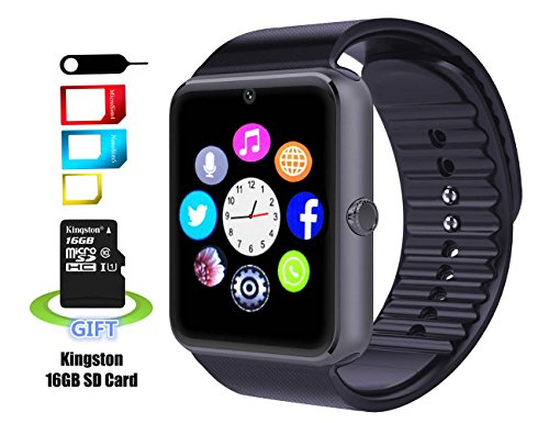 Smart Watch, SMARTER® Smartwatch per Android Bluetooth Fitness Tracker Watch per Android Samsung S5 S6 NOTE 4 5, HTC, Sony, LG (Nero)