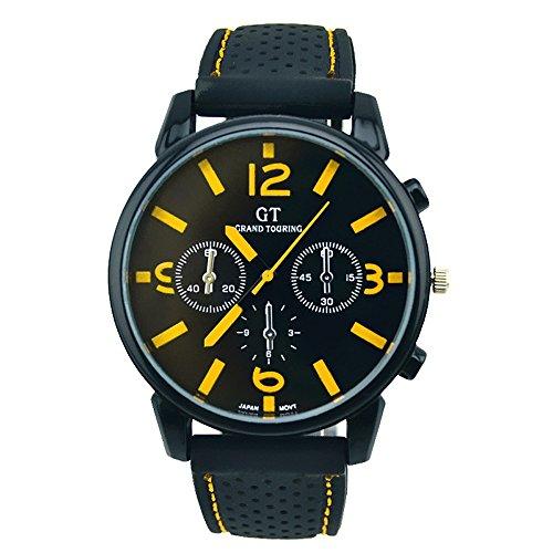 EUZeo Herrenmode Lederband Uhren Herren Sportliche Farbnummer Quarz Armbanduhren Stunden Armbanduhr Analoguhr Herrenuhren