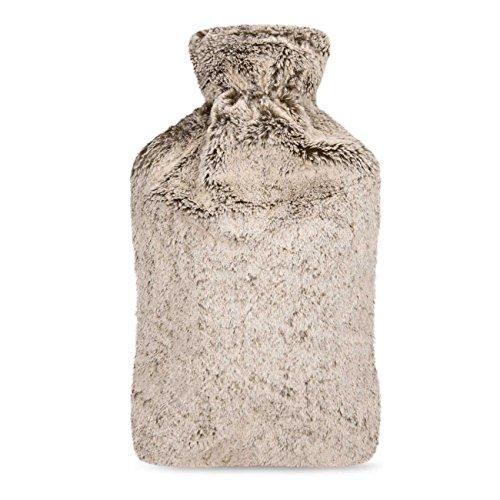 UMOI Öko Wärmflasche 2 Liter mit hochwertigem MINK Fleece Bezug BS1970:2012 zertifiziert Modell 2018 (Beige)