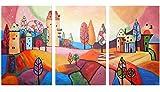 100% HANDMADE + certificato / Quadro dipinto con colori acrilici Città da fiaba / dipinti su tela con lettiga in legno / artigianali / Comodo fissaggio alla parete / Arte Contemporanea /120x60 cm