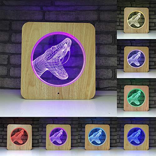 3D LED-Lampe Nachtlicht - 7 Farben USB-Nachtlicht mit Touch-Schalter, ABS Wood Grain Frame und Acryl flach für Kinder (Python) -
