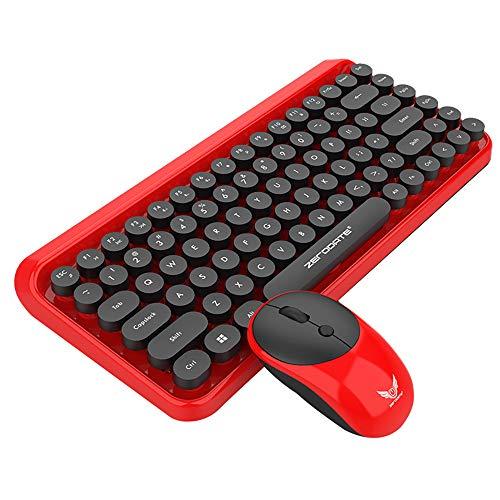 YA-Uzeun 2-in-1-USB-Maus, 2,4 GHz, Retro-Stil, 84 Tasten, kabellos (Refurbished Generation 2. Ipad)