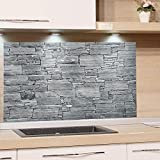 GRAZDesign Küchenrückwand Steinoptik Grau - Spritzschutz Glas Küche - für Herd und Spüle - Eyecatcher - Edles Glas / 60x40cm