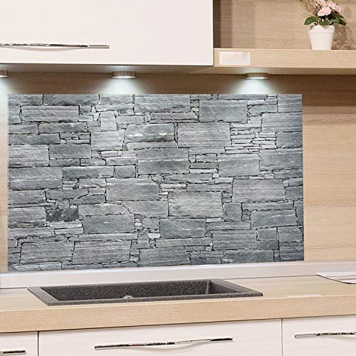 GRAZDesign Küchenrückwand Steinoptik Grau - Spritzschutz Glas Küche - für Herd und Spüle - Eyecatcher - Edles Glas / 100x50cm
