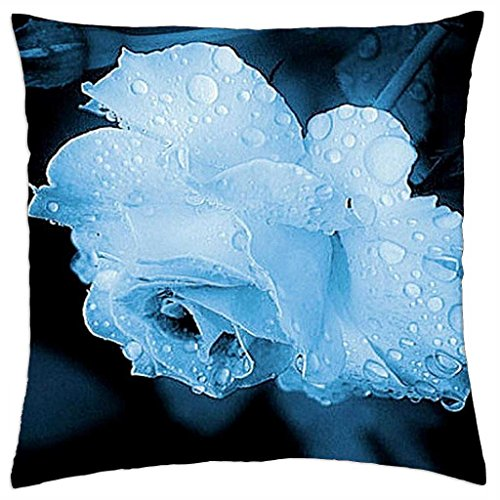 wet-blue-rose-one-throw-pillow-cover-case-18-x-18