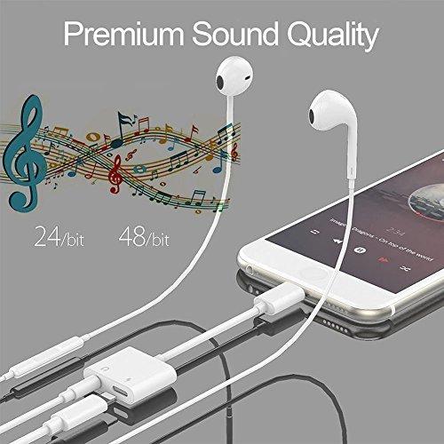 Tenwow Kopfhörer-Jack-Adapter 3.5mm für iPhone X / iPhone 8/8 plus iPhone7 / 7 plus Beleuchten Sie Verbindungsstück zu Kopfhörer Aux Audio & Lade - 3