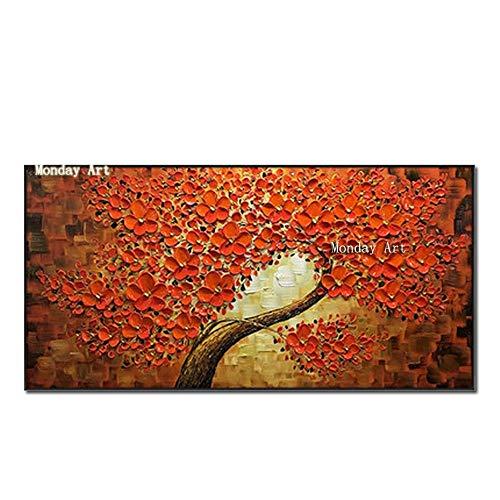 Antik-braun Cherry (Ölgemälde Auf Leinwand Handgemalt,Abstrakte Landschaft Texturierte Gemälde, Tief Orange Cherry Tree Auf Braun,Extra Große Größe Moderner Wand Dekorative Artwork Für Eingang Wohnzimmer, 40 X 80 Cm)