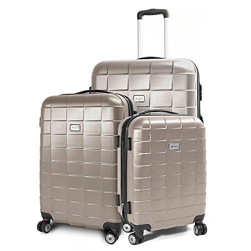 BERWIN® Kofferset 3-teilig Reisekoffer Koffer Trolley Hartschalenkoffer ABS Teleskopgriff Modell Squares (Champagne)