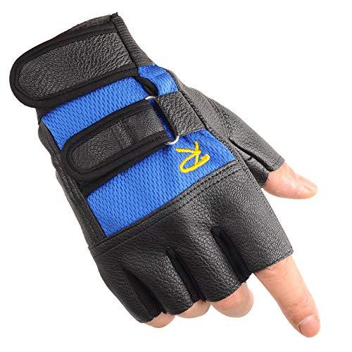 LybGloves Tragen halbe Fingerhandschuhe der Sporthalbfingerhandschuhmänner Männer das Tragen, das im Freien, blaues R, eine Größe reitet
