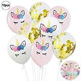 10PCS Mix Farbe Einhorn Pailletten Luftballons Set Festliche Latexballons Happy Birthday Balloons Party Supplies