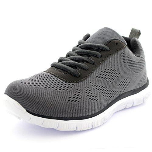 bd9001df667c3 Mens Get Fit Mesh Running Trainers Athletic Walking Gym Shoes Sport Run -  Grey 43 -
