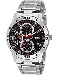 Arum New Collection Black Round Shaped Dial Metal Strap Fashion Wrist Watch For Men's And Boy's