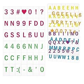 kwmobile Einschubplättchen Set A5 Lichtbox - 126 bunte Plättchen Buchstaben Zahlen Symbole Ergänzungsset - LED Lightbox Leuchtkasten Erweiterung