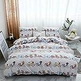 TINE Bettwäsche Set Bettbezug Und Kissenbezug Moderne Multicolor Fahrrad Muster Design mit Reißverschluss Schließung Polyester Atmungsaktive Bettwäsche-Set,240x220cm
