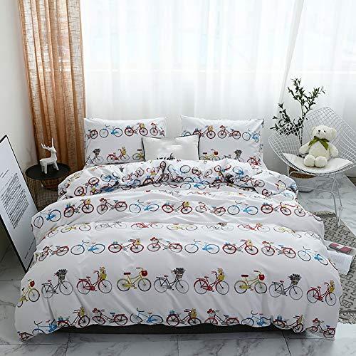 TINE Bettwäsche Set Bettbezug Und Kissenbezug Moderne Multicolor Fahrrad Muster Design mit Reißverschluss Schließung Polyester Atmungsaktive Bettwäsche-Set,135x200cm