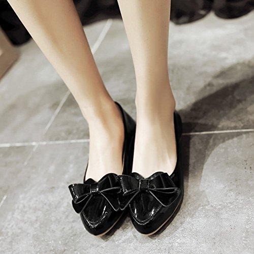 MissSaSa Damen modern keilabsatz Pointed Toe Low-cut Lackleder Slipper mit Schleife Schwarz