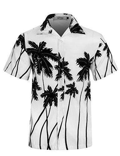 APTRO Strand Hemd Herren Hawaiihemd Leichtgewichts Reise Hemd Kurzlich Freizeit Shirt ST22 Weiß XL