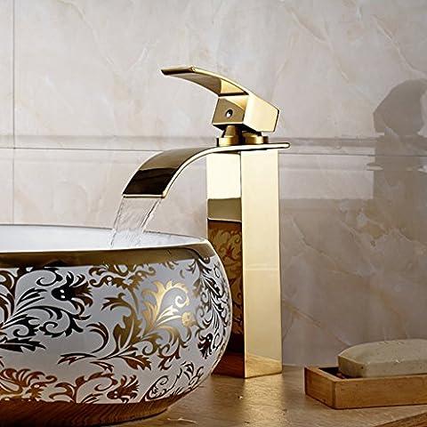 kunmai moderno cascata alto rubinetto miscelatore per lavabo monoblocco, Gold