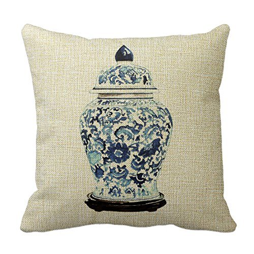MLNHY Romantichouse Polyester Square Decorative Ginger Jar No. 4 Pillowcase 18x18Inch (45cm x 45cm, Twin Sides) Bamboo Ginger Jar