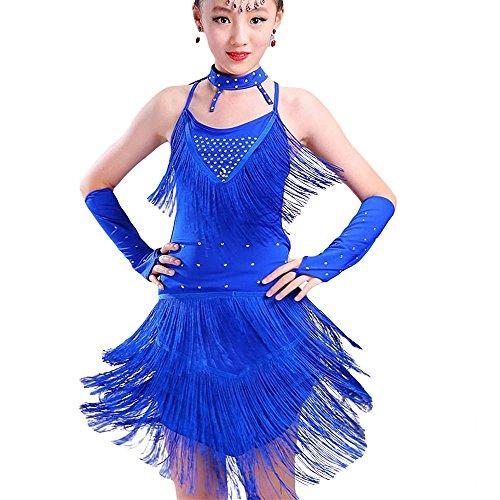 (ZooBoo Kinder Mädchen Latein Tanzkleid - Moderne Latin Tänze Walzer Tango Salsa Swingtanz Praxis Training Party Wettbewerb Kostüm Tanzrock Trikot Bekleidung Accessoires Quasten Pailletten Dekoration Zubehör (Blau, 140 cm))