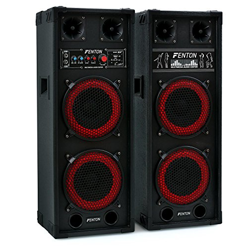 Fenton SPB-28 set coppia casse attive amplificate attiva/passiva (800 Watt, Bluetooth, 2 x subwoofer da 20 CM, USB SD MP3, bass reflex, 2 x MIC IN)