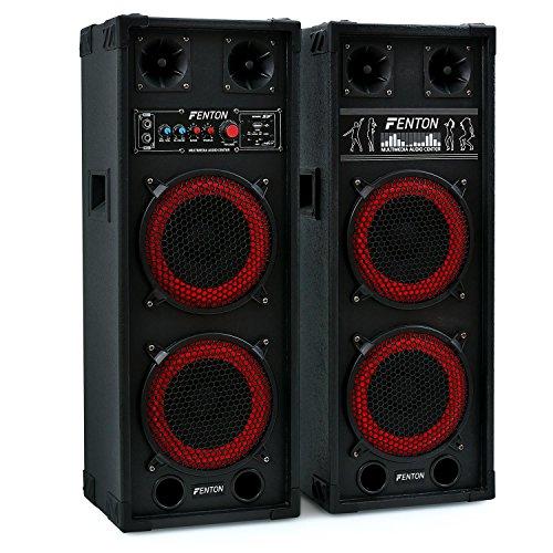 Fenton SPB-28 • 2 x PA Lautsprecher • Aktivboxen Set • Master/Slave Boxensystem • 800 Watt max. • 2 x 20 cm (8