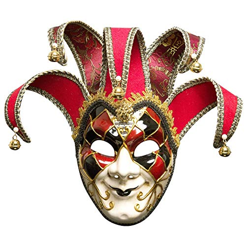 xiegons0 Voll Gesicht Maskerade Maske, Vintage Venezianer Griechische Römische Colombina Fastnacht Party Maske Anti-Ancient Maske für Weihnachten Halloween - Rot, Free Size -