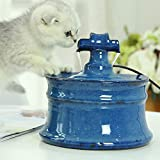 Ceramic Cat Water Fountain - Smart Cat and Dog Drinking Water - Pet Ultra Silent Water Dispenser, Pet Companion Pet Hygiene (Color : Blue)