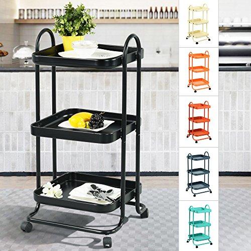 Etagen Servierwagen, Eiffel Metall Mesh-Einheiten, bunten stabile Rolling Cart, geeignet für Küche, Haus, Büro, schwarz ()