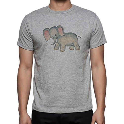 Little Sweet Elephant Pink Blue Herren T-Shirt Grau