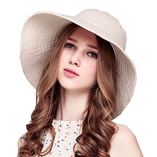 Maitose™ Femmes Sun Protection coupe-vent chapeau à large bord Beige