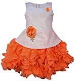 My Lil Princess Baby Girls Birthday Party wear Frock Dress_ New Orange Scuba_5-6 Years